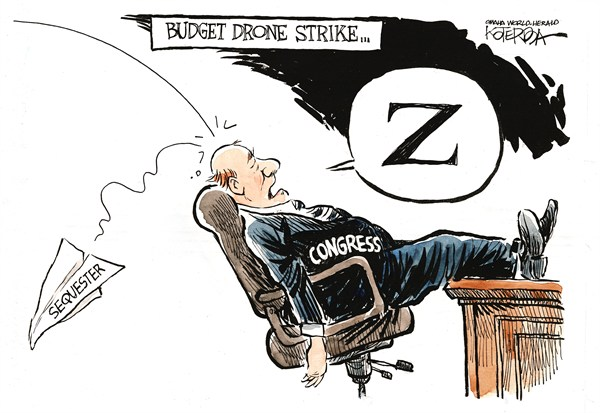 "Jeff Koterba cartoon for February 7, 2013 ""Drone Budget Congress"""