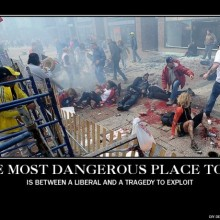 The most dangerous place to be is between a liberal and a tragedy to exploit