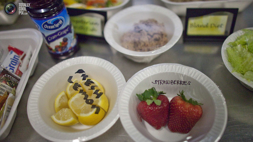 A selection of lunch meals offered to detainees are displayed in a food preparation area at the U.S. Naval Base at Guantanamo Bay. BOB STRONG/REUTERS