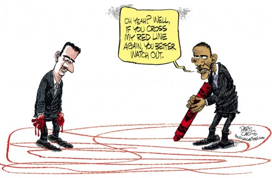 obama red line cartoon