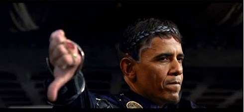 obama emperor thumbs down