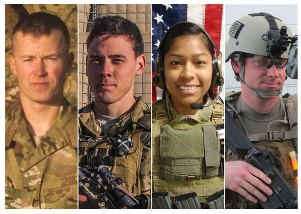 US Army (Left to right) Pfc. Cody J. Patterson, Sgt. Patrick C. Hawkins, 1st Lt. Jennifer M. Moreno and Special Agent Joseph M. Peters were killed by an improvised explosive device in Afghanistan on Sunday.