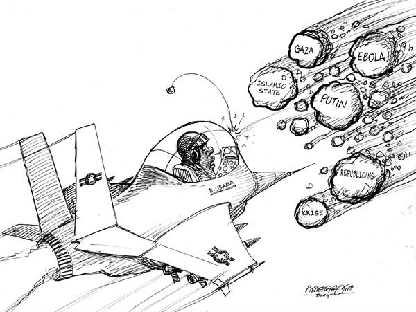 karikatur für tribüne- meteoritenschauer