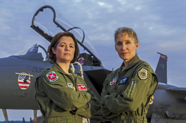 """Lieutenant Colonel Nicole """"FIFI"""" Malachowski and Colonel Jeannie """"Tally"""" Leavitt, both F-15E Strike Eagle pilots with extensive combat experience."""