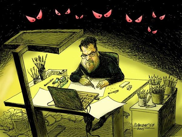 karikatur für tribüne-Gefährliches Job