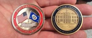 Amanda Terkel/HuffPost Secretary of State John Kerry and President Barack Obama's challenge coins.
