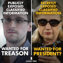 If you can't prosecute Hillary Clinton, then you can't prosecute Edward Snowden