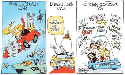 Signe cartoon Sign13e Clinton Car