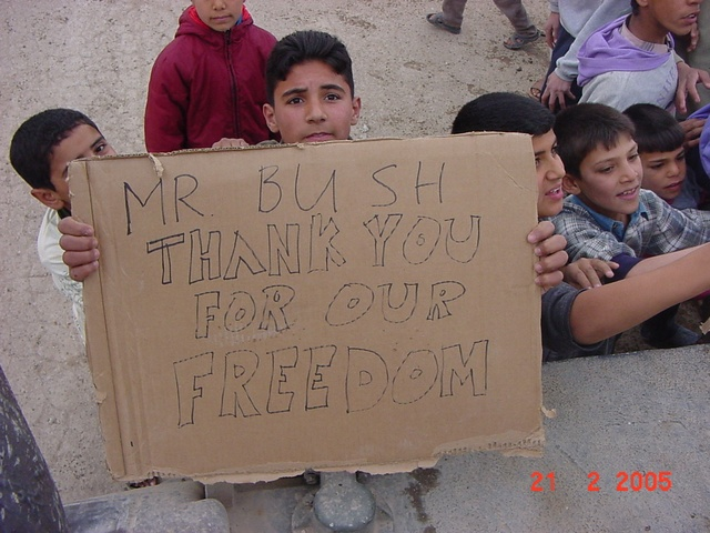 Iraqi s thank bush